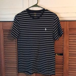 Black polo tshirt with white stripes